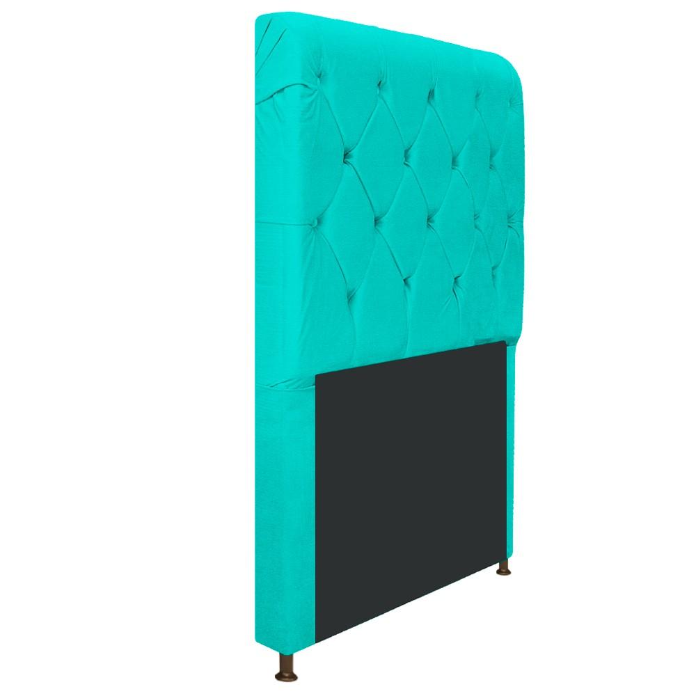 Cabeceira Estofada Cristal 90 cm Solteiro Com Capitonê Corano Azul Turquesa - ADJ Decor
