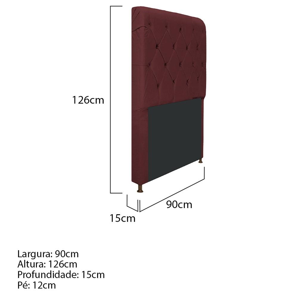 Cabeceira Estofada Cristal 90 cm Solteiro Com Capitonê Corano Bordô - ADJ Decor