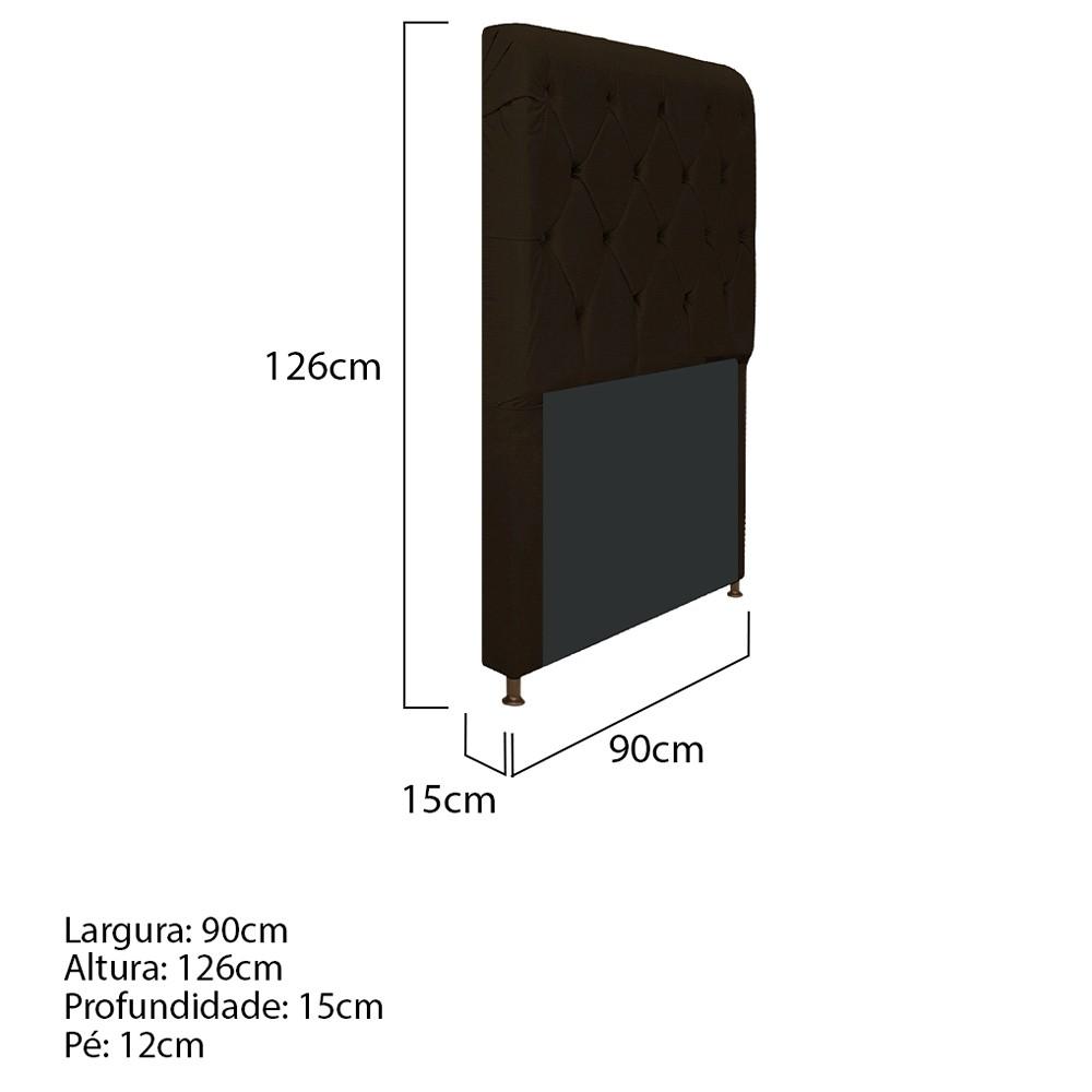 Cabeceira Estofada Cristal 90 cm Solteiro Com Capitonê Corano Marrom - ADJ Decor