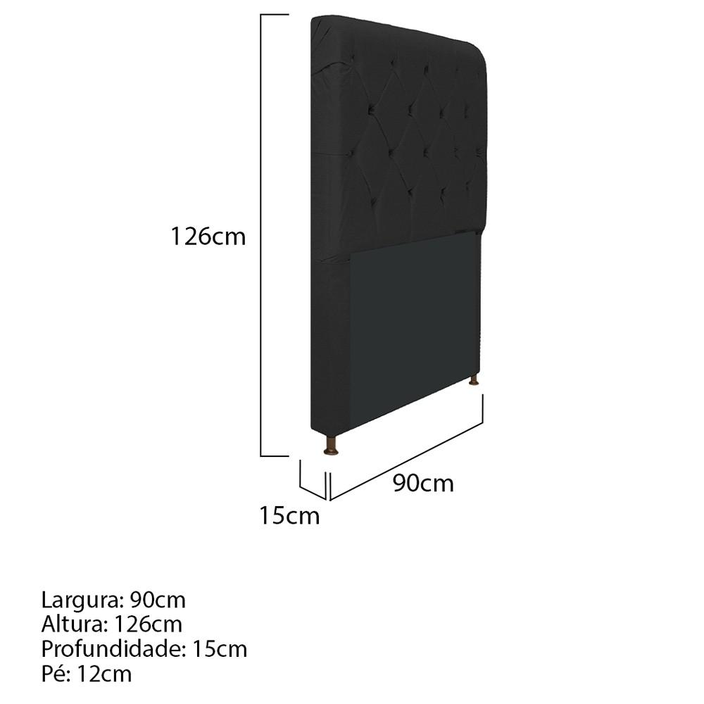 Cabeceira Estofada Cristal 90 cm Solteiro Com Capitonê Corano Preto- ADJ Decor