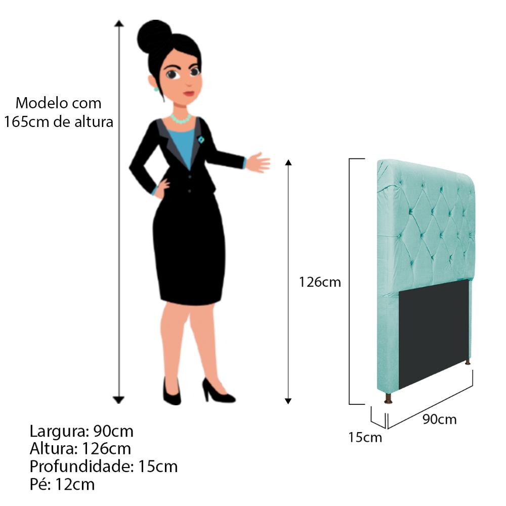 Cabeceira Estofada Cristal 90 cm Solteiro Com Capitonê  Suede Azul Tiffany - ADJ Decor
