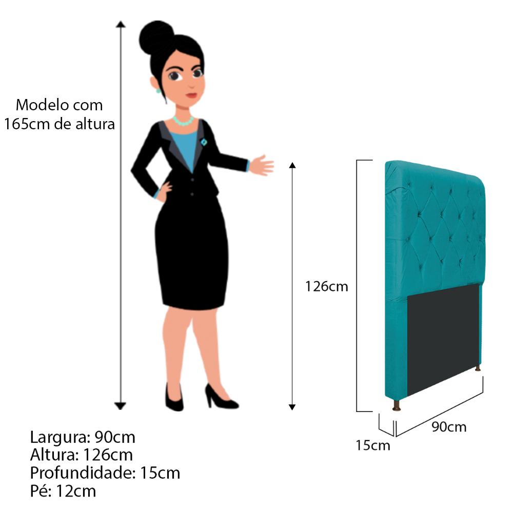 Cabeceira Estofada Cristal 90 cm Solteiro Com Capitonê  Suede Azul Turquesa - ADJ Decor