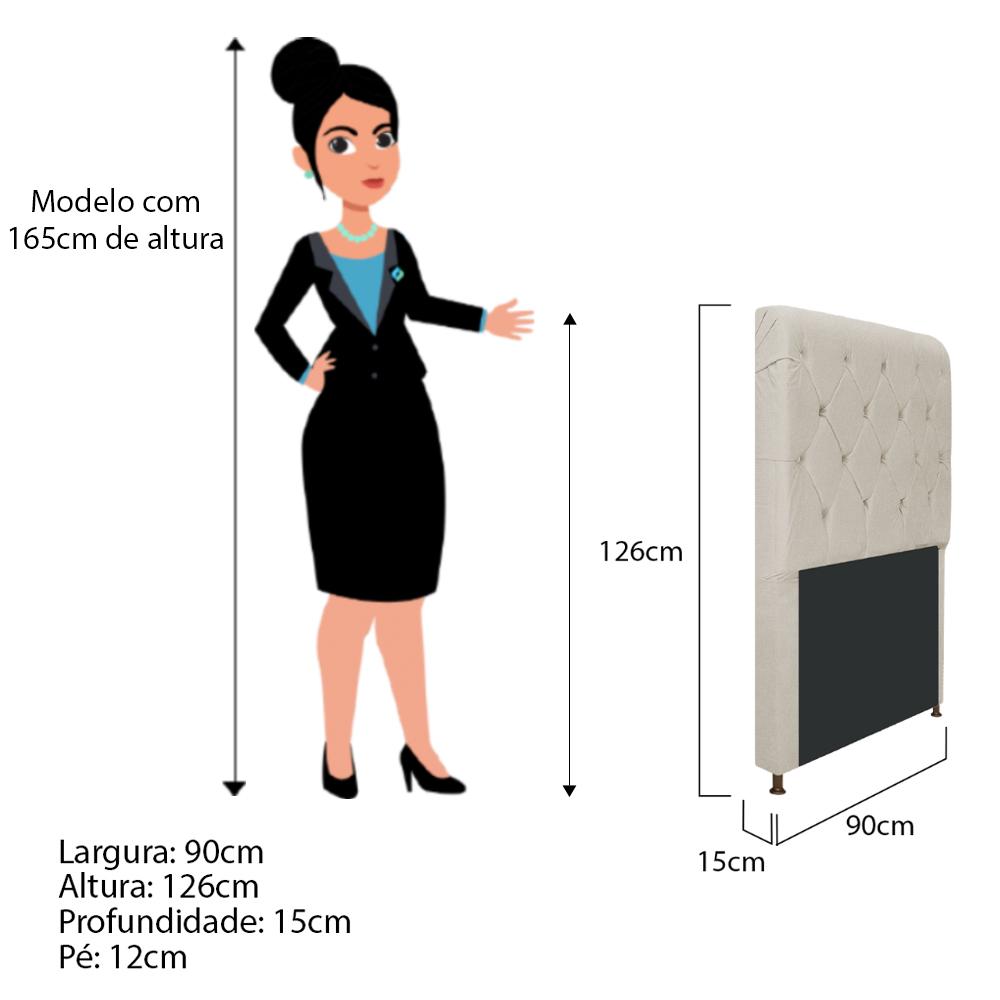 Cabeceira Estofada Cristal 90 cm Solteiro Com Capitonê  Suede Bege - ADJ Decor