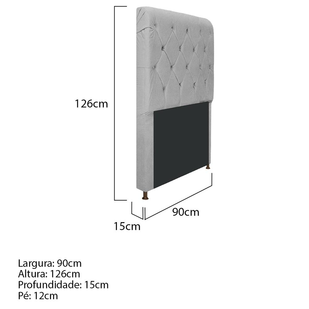 Cabeceira Estofada Cristal 90 cm Solteiro Com Capitonê  Suede Cinza - ADJ Decor
