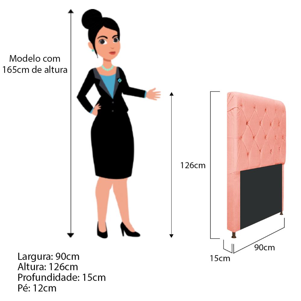 Cabeceira Estofada Cristal 90 cm Solteiro Com Capitonê  Suede Coral - ADJ Decor