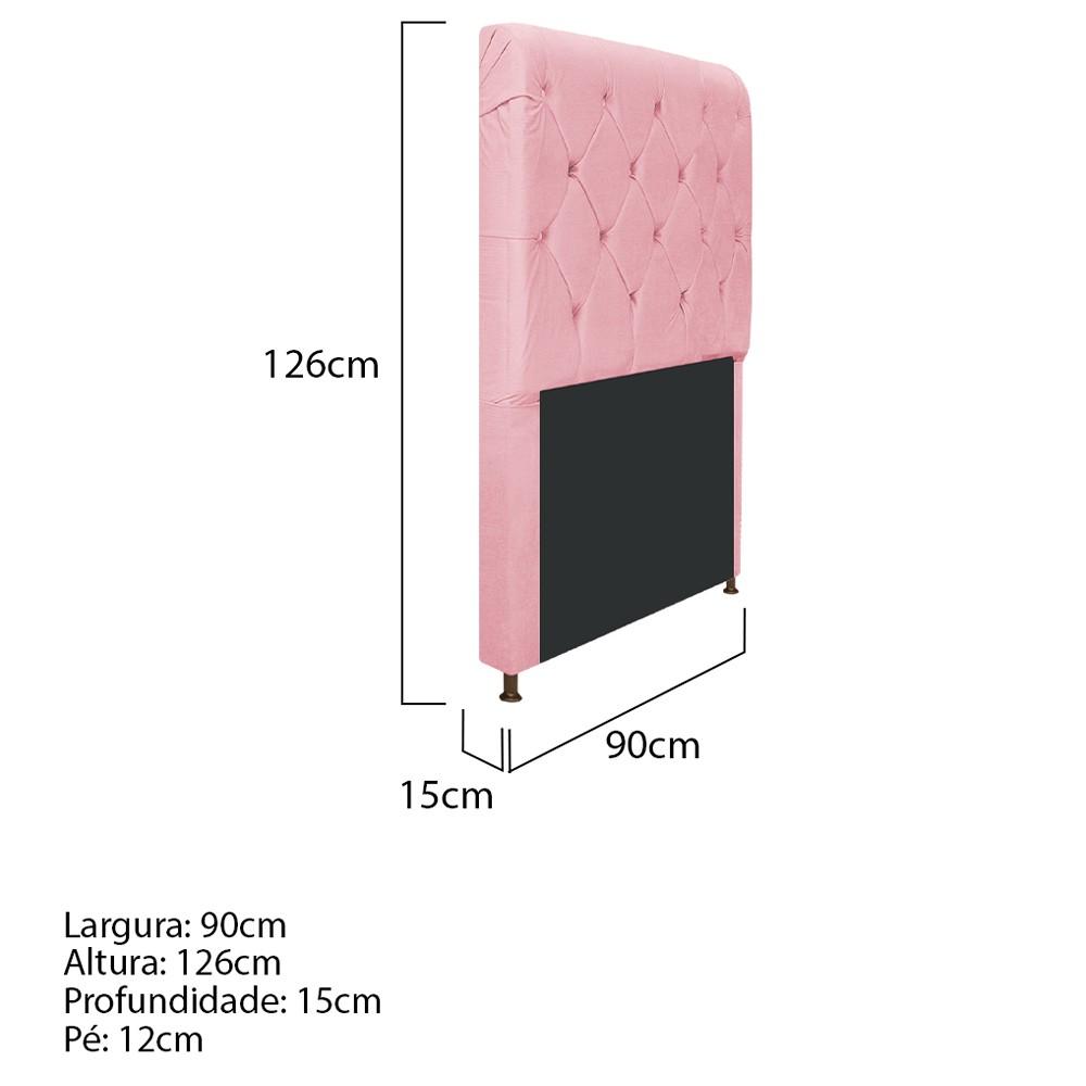 Cabeceira Estofada Cristal 90 cm Solteiro Com Capitonê  Suede Rosa Bebê - ADJ Decor