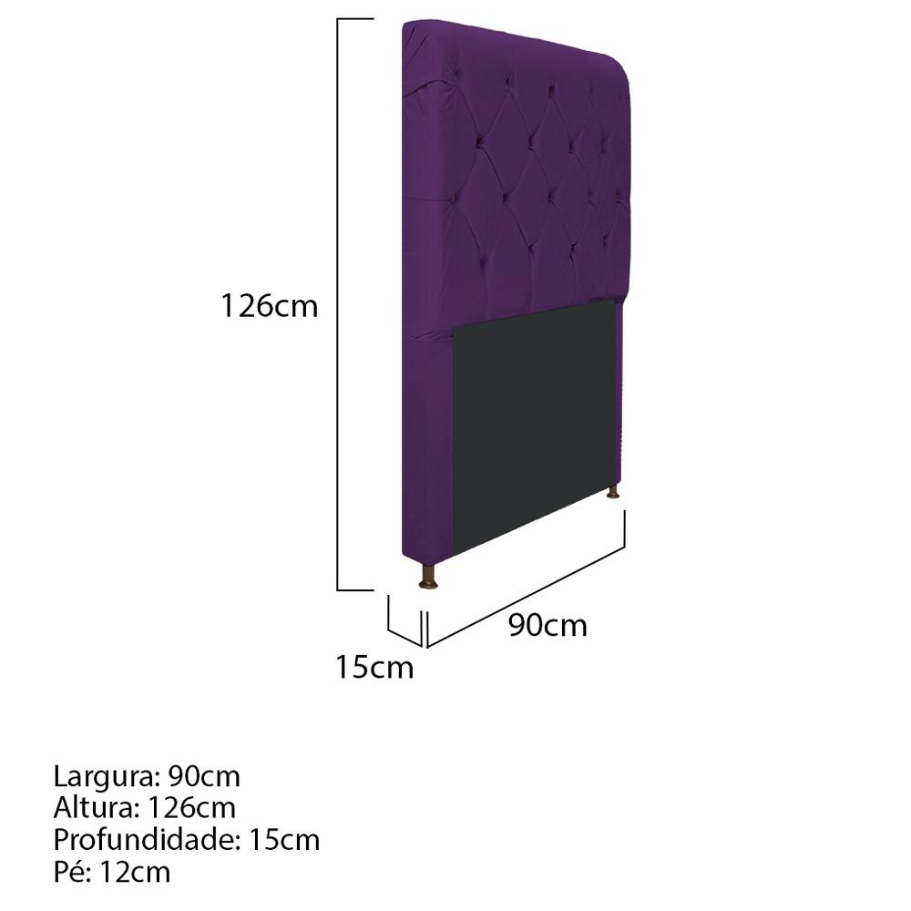 Cabeceira Estofada Cristal 90 cm Solteiro Com Capitonê  Suede Roxo - ADJ Decor