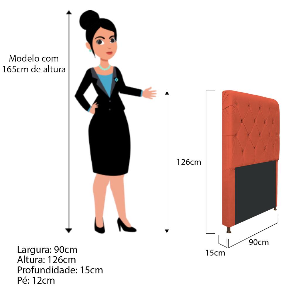 Cabeceira Estofada Cristal 90 cm Solteiro Com Capitonê  Suede Terracota - ADJ Decor