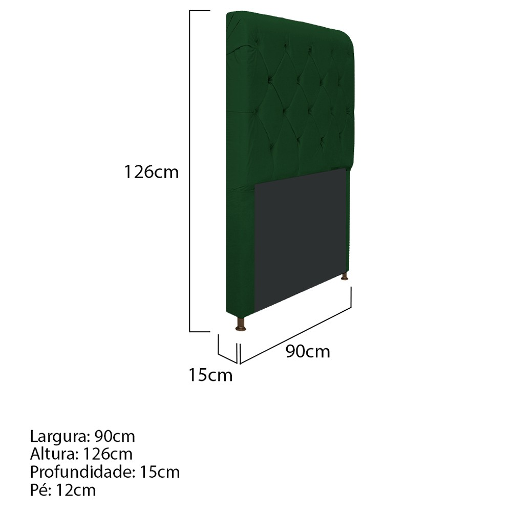 Cabeceira Estofada Cristal 90 cm Solteiro Com Capitonê  Suede Verde - ADJ Decor