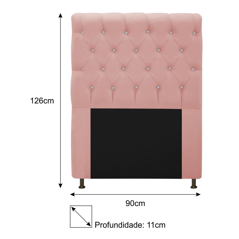 Cabeceira Estofada Cristal 90 cm Solteiro Com Strass  Suede Rosê - ADJ Decor