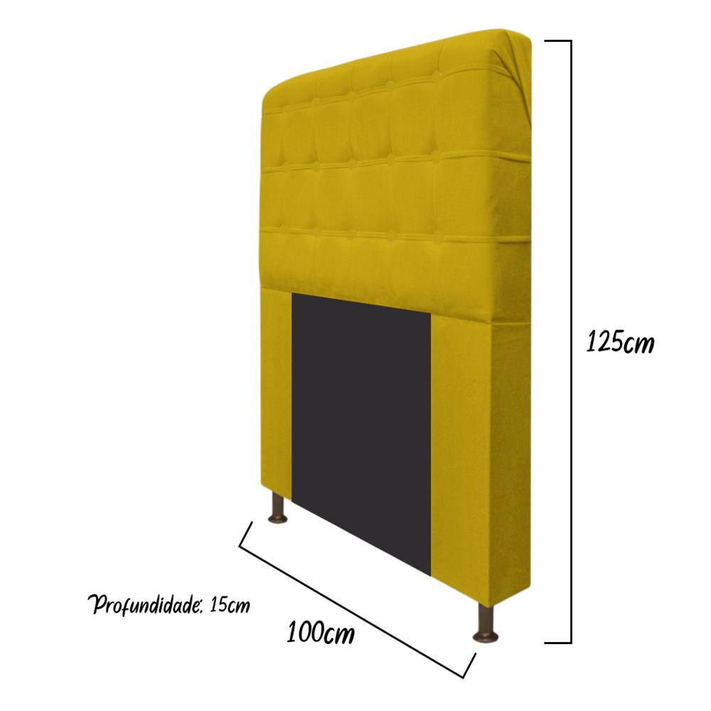 Cabeceira Estofada Dama 100 cm Solteiro Com Botonê Suede Amarelo - ADJ Decor