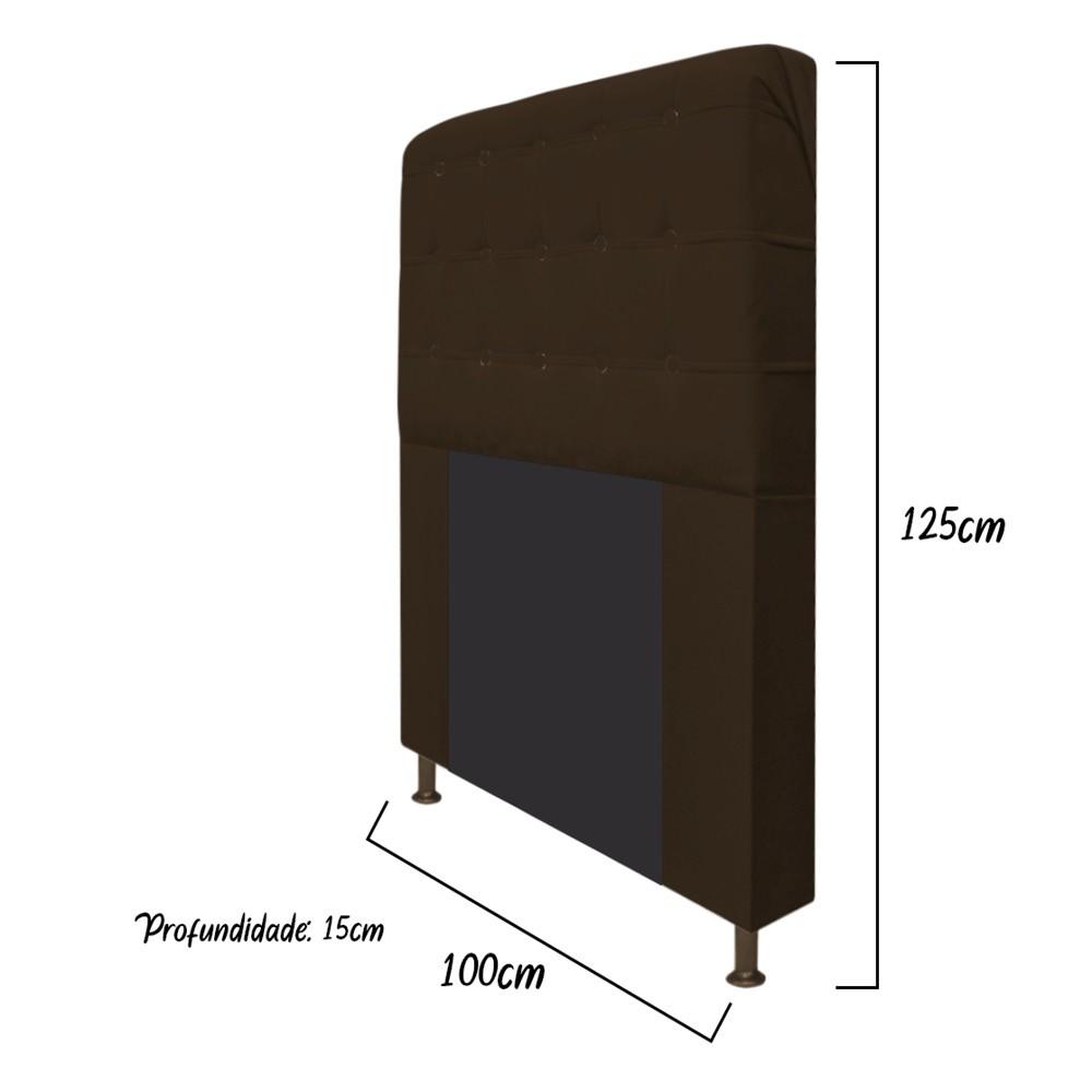 Cabeceira Estofada Dama 100 cm Solteiro Com Botonê Suede Marrom - ADJ Decor