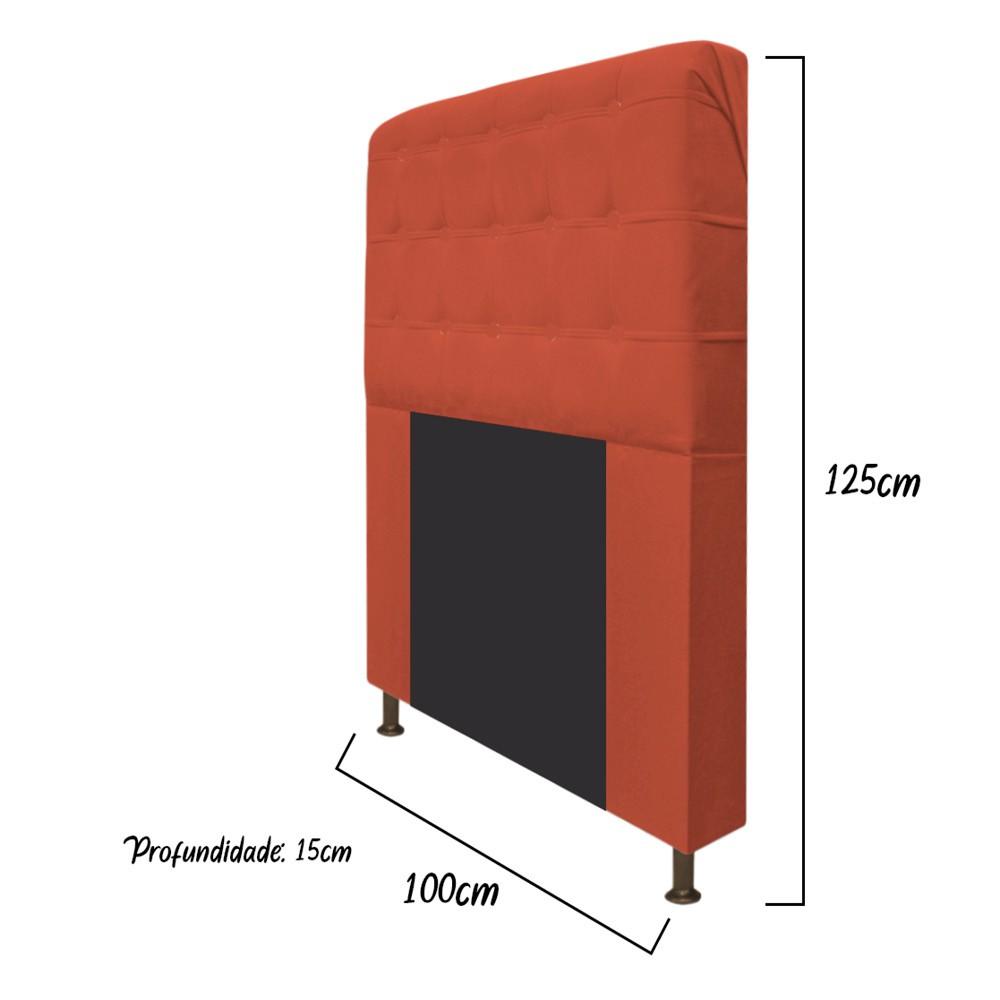 Cabeceira Estofada Dama 100 cm Solteiro Com Botonê Suede Terracota - ADJ Decor