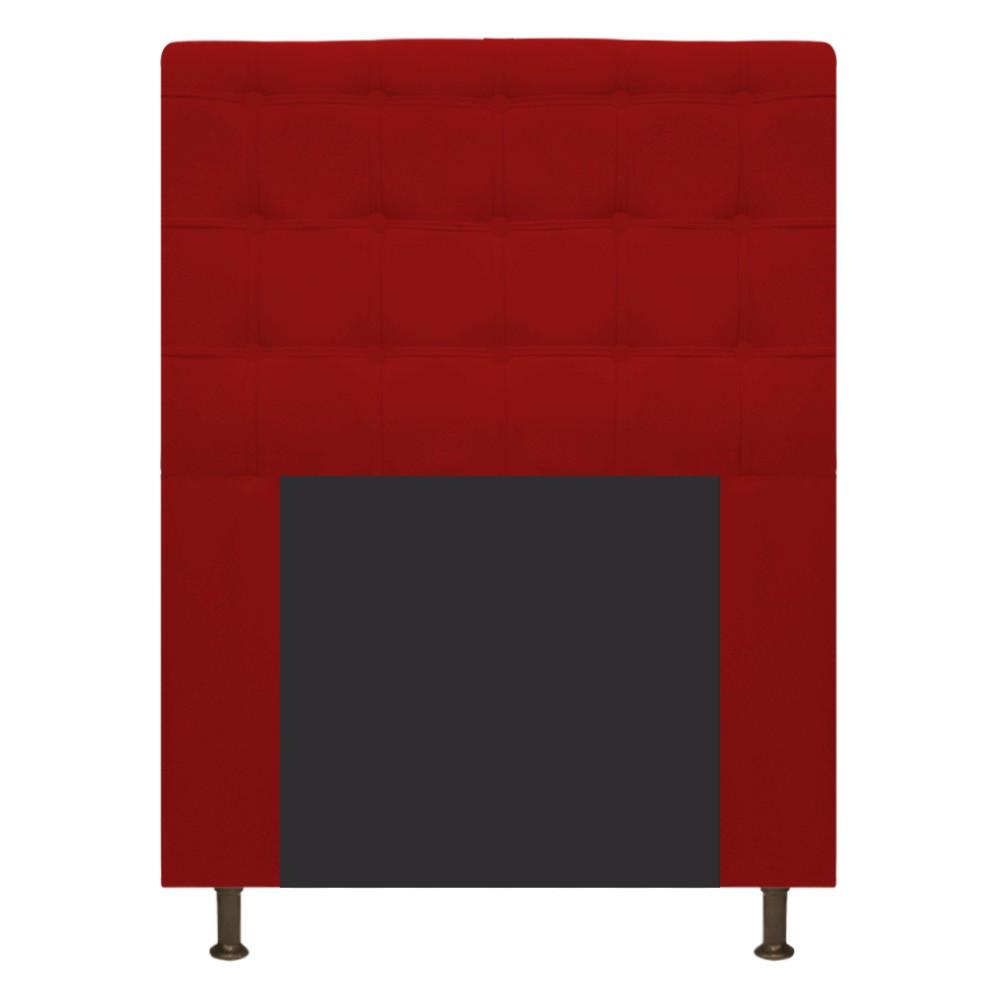Cabeceira Estofada Dama 100 cm Solteiro Com Botonê Suede Vermelho - ADJ Decor
