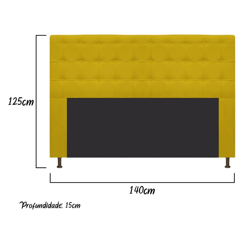 Cabeceira Estofada Dama 140 cm Casal Com Botonê  Suede Amarelo - ADJ Decor