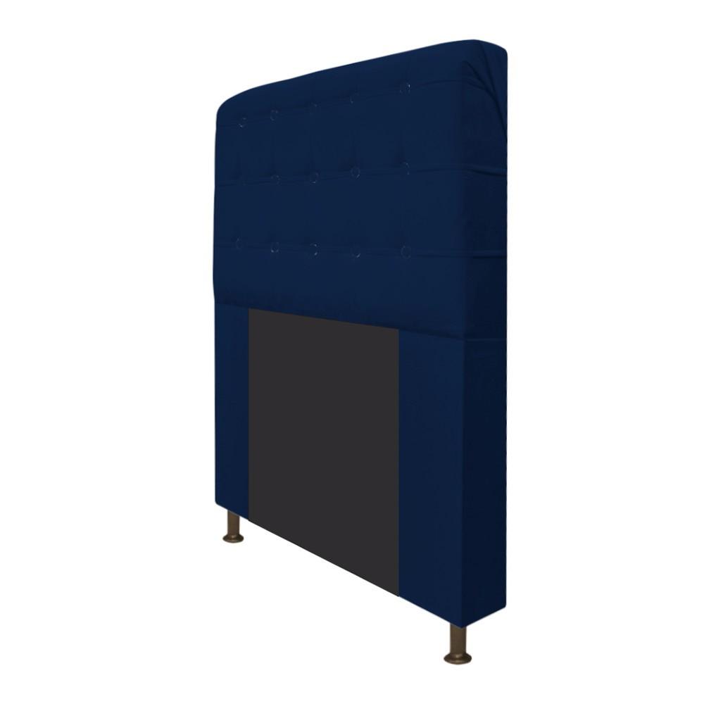Cabeceira Estofada Dama 140 cm Casal Com Botonê  Suede Azul Marinho - ADJ Decor