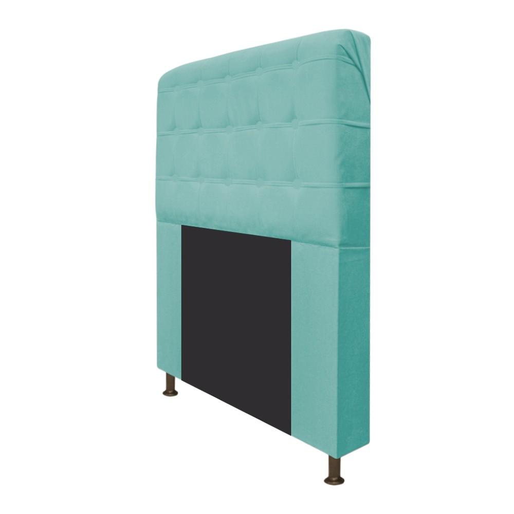 Cabeceira Estofada Dama 140 cm Casal Com Botonê  Suede Azul Tiffany - ADJ Decor
