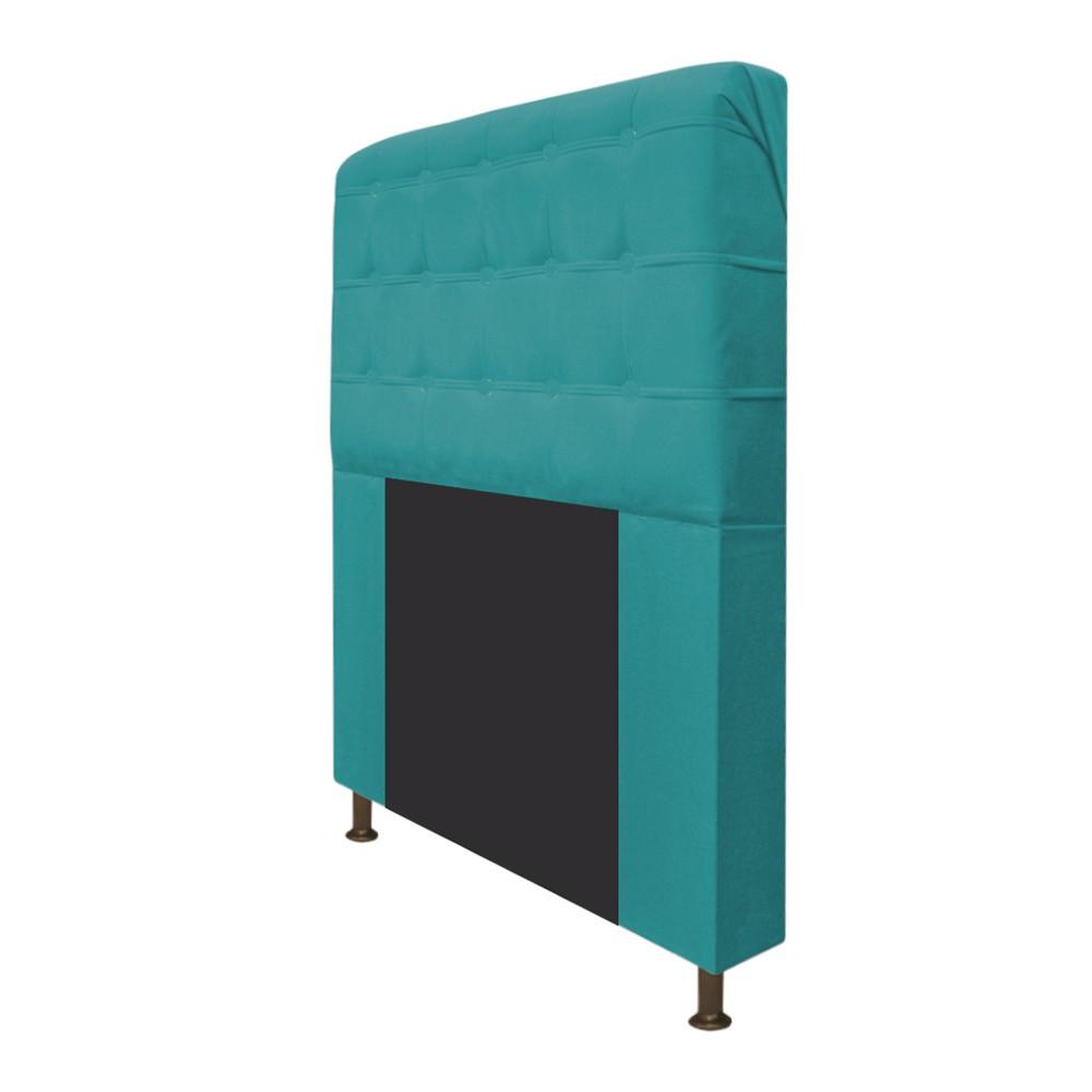 Cabeceira Estofada Dama 140 cm Casal Com Botonê  Suede Azul Turquesa - ADJ Decor