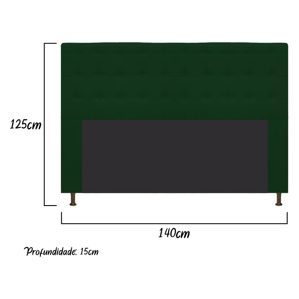 Cabeceira Estofada Dama 140 cm Casal Com Botonê  Suede Verde - ADJ Decor