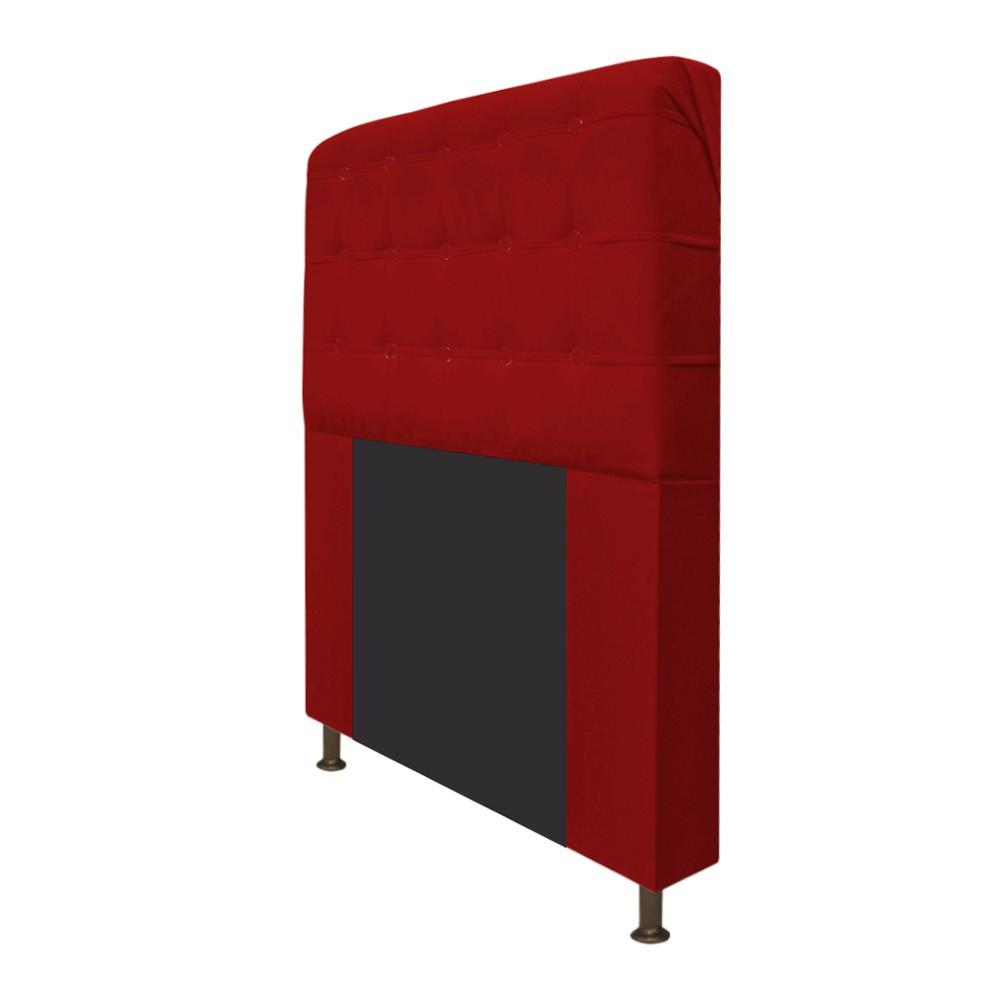 Cabeceira Estofada Dama 140 cm Casal Com Botonê  Suede Vermelho - ADJ Decor