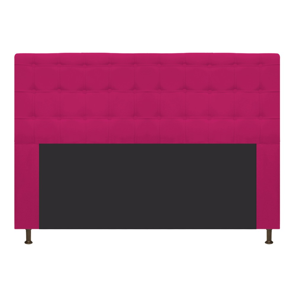 Cabeceira Estofada Dama 160 cm Queen Size Com Botonê Suede Pink - ADJ Decor