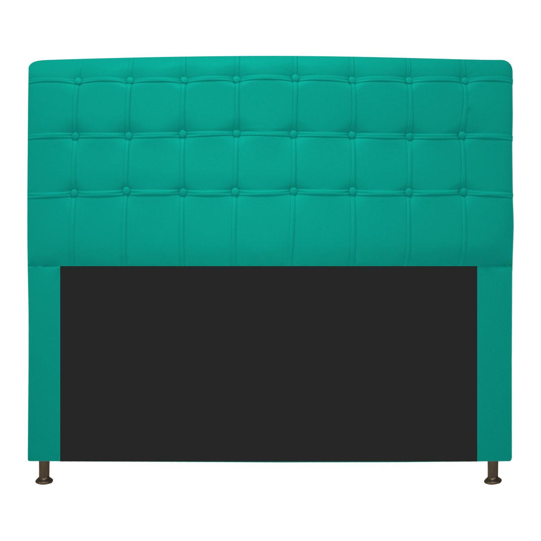 Cabeceira Estofada Dama 195 cm King Size Com Botonê Corano Azul Turquesa - ADJ Decor