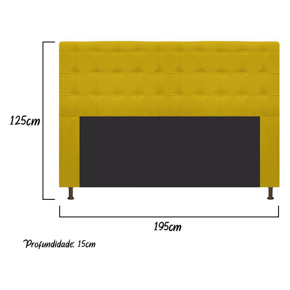 Cabeceira Estofada Dama 195 cm King Size Com Botonê Suede Amarelo - ADJ Decor