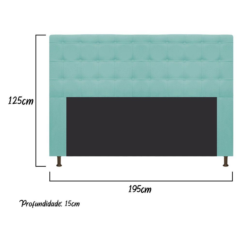 Cabeceira Estofada Dama 195 cm King Size Com Botonê Suede Azul Tiffany - ADJ Decor