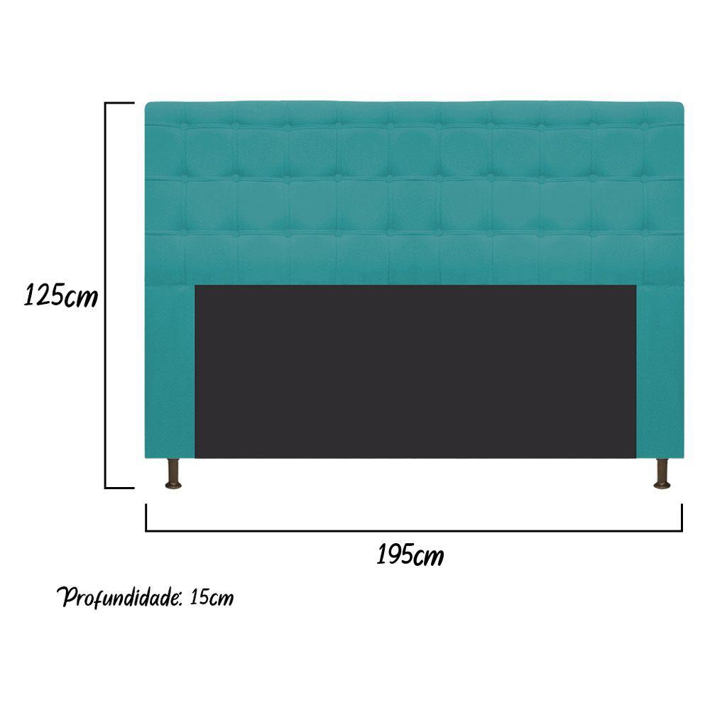 Cabeceira Estofada Dama 195 cm King Size Com Botonê Suede Azul Turquesa - ADJ Decor