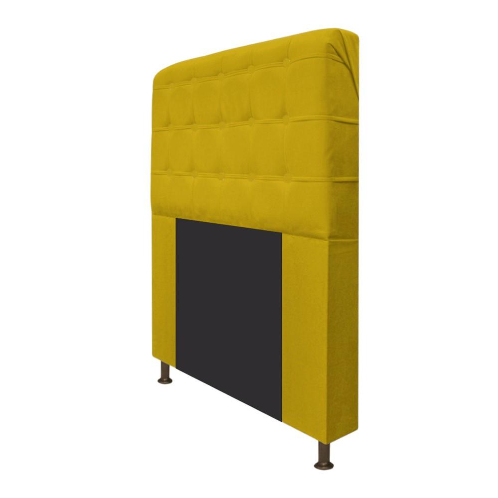 Cabeceira Estofada Dama 90 cm Solteiro Com Botonê  Suede Amarelo - ADJ Decor
