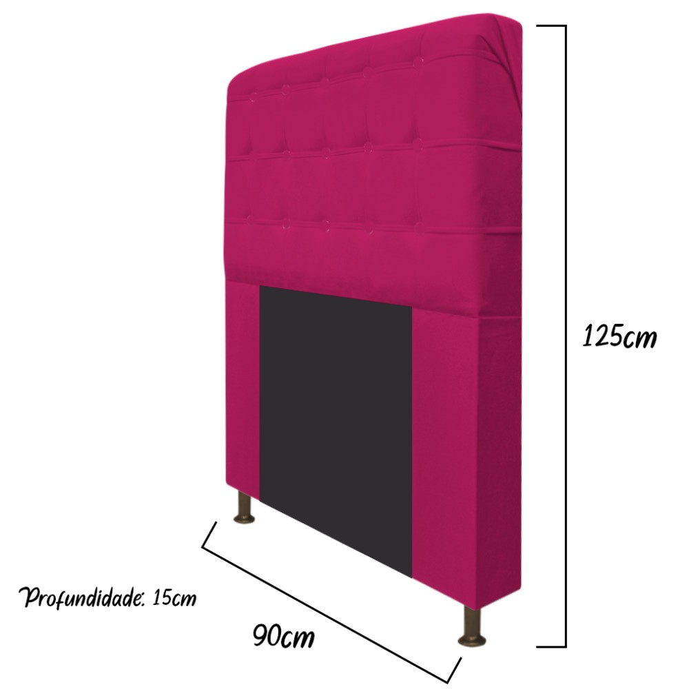 Cabeceira Estofada Dama 90 cm Solteiro Com Botonê  Suede Pink - ADJ Decor
