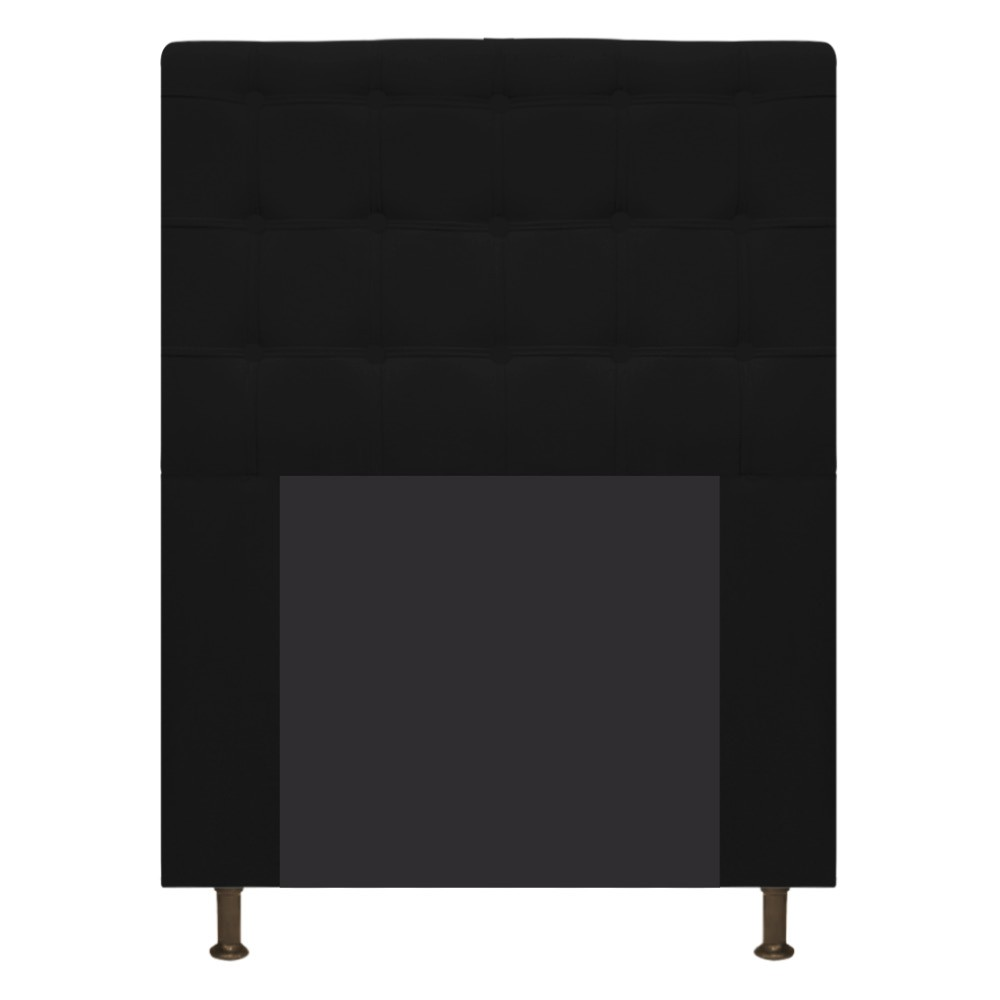Cabeceira Estofada Dama 90 cm Solteiro Com Botonê  Suede Preto - ADJ Decor