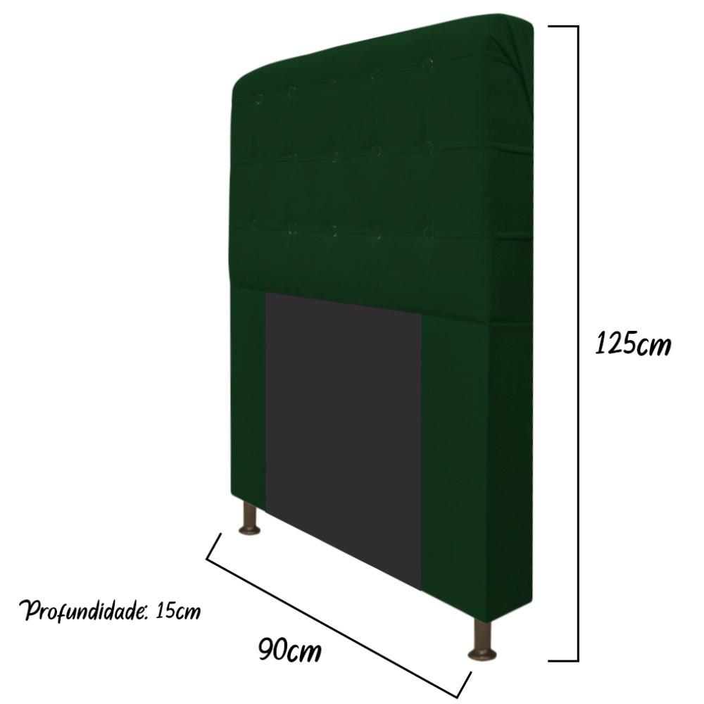 Cabeceira Estofada Dama 90 cm Solteiro Com Botonê  Suede Verde - ADJ Decor