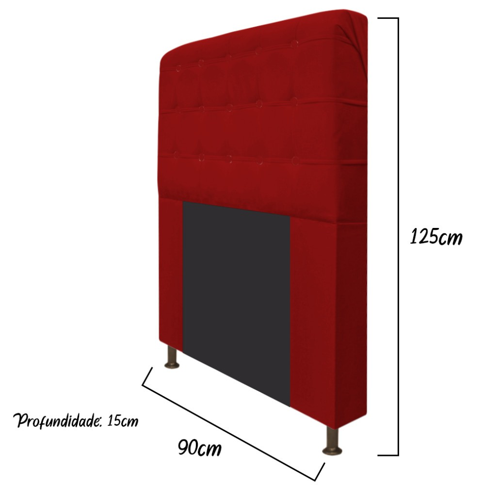 Cabeceira Estofada Dama 90 cm Solteiro Com Botonê  Suede Vermelho - ADJ Decor