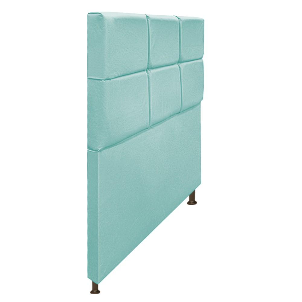 Cabeceira Estofada Damares 100 cm Solteiro Com Botonê Suede Azul Tiffany - ADJ Decor