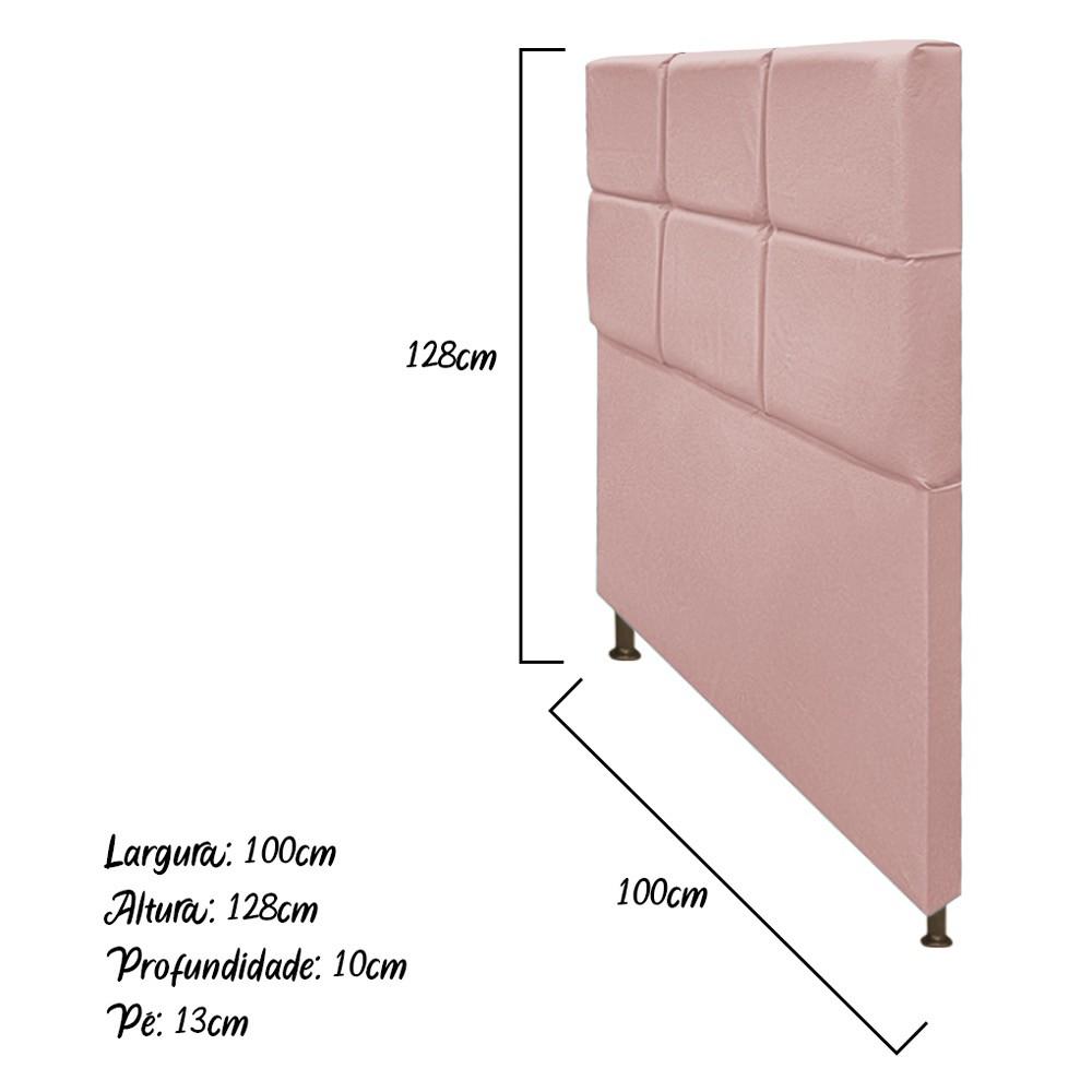 Cabeceira Estofada Damares 100 cm Solteiro Com Botonê Suede Rosê - ADJ Decor