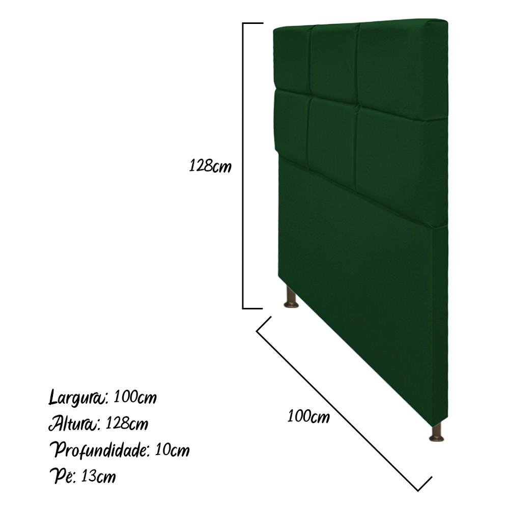 Cabeceira Estofada Damares 100 cm Solteiro Com Botonê Suede Verde - ADJ Decor