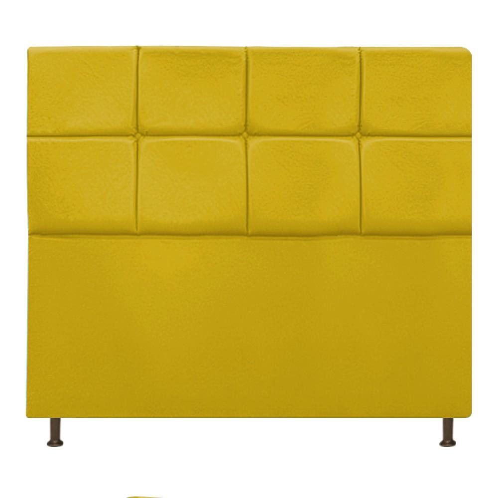 Cabeceira Estofada Damares 140 cm Casal Com Botonê  Suede Amarelo - ADJ Decor