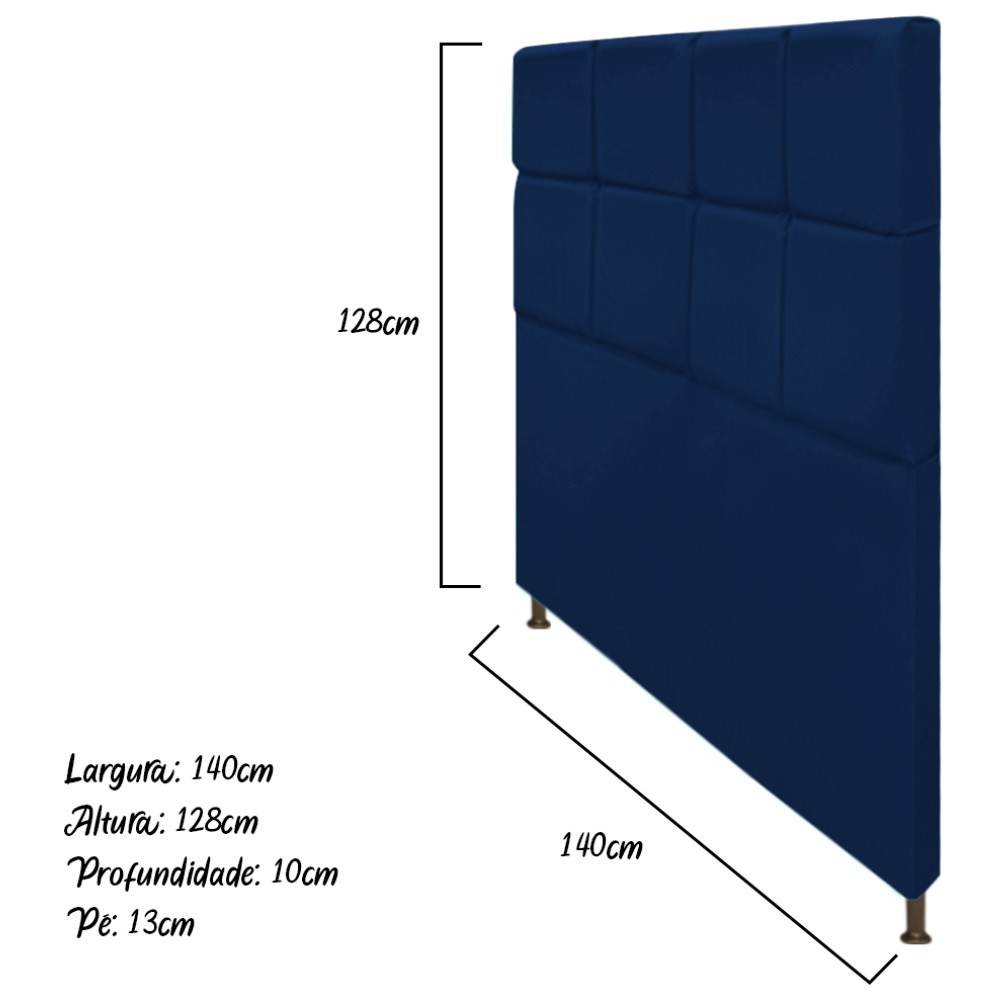 Cabeceira Estofada Damares 140 cm Casal Com Botonê  Suede Azul Marinho - ADJ Decor