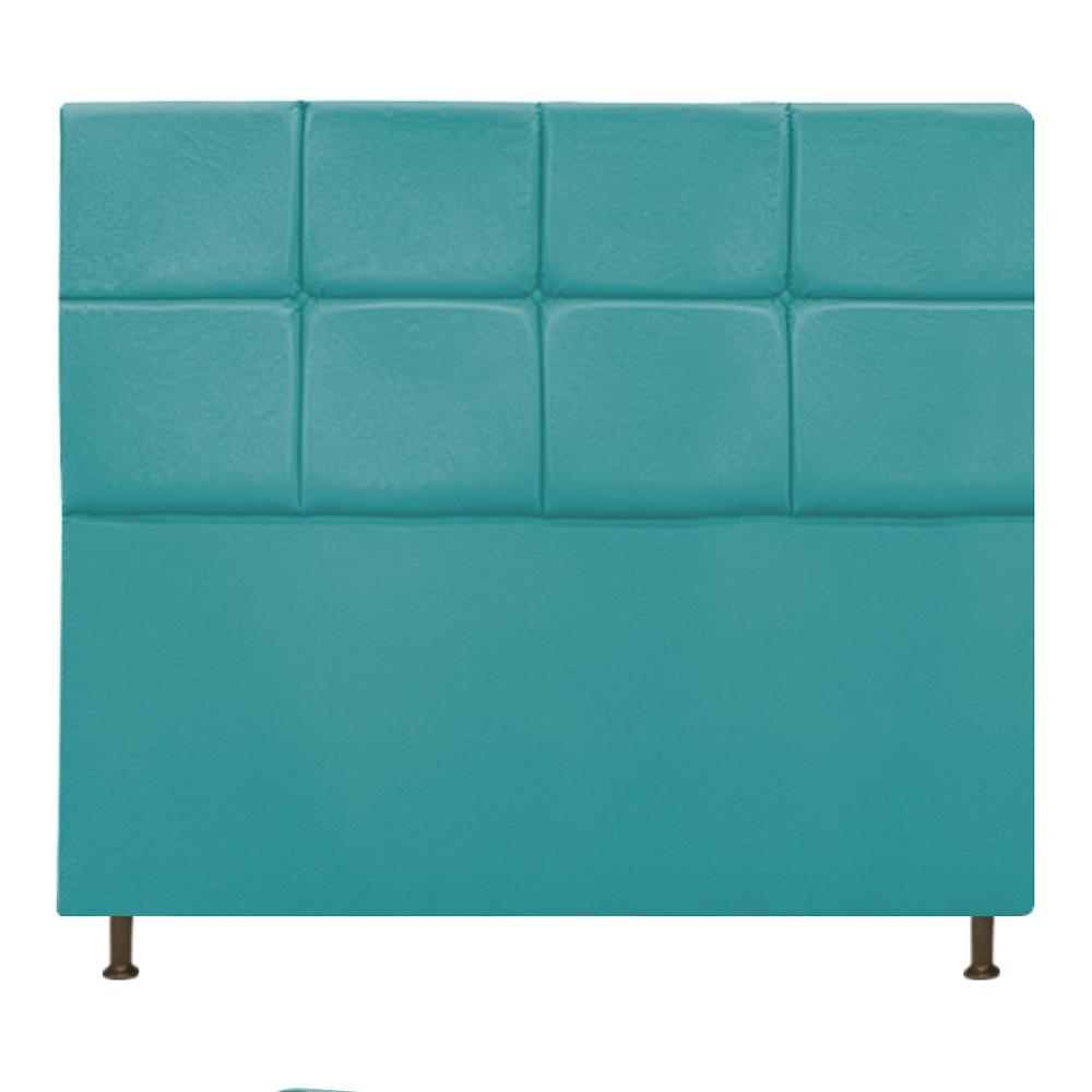 Cabeceira Estofada Damares 140 cm Casal Com Botonê  Suede Azul Turquesa - ADJ Decor