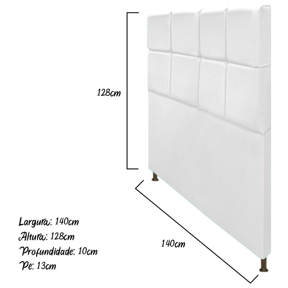 Cabeceira Estofada Damares 140 cm Casal Com Botonê  Suede Branco - ADJ Decor