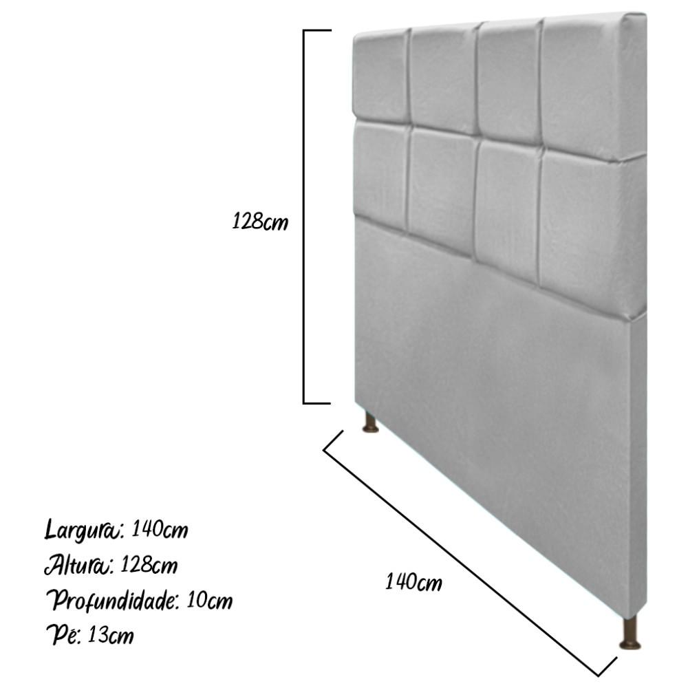 Cabeceira Estofada Damares 140 cm Casal Com Botonê  Suede Cinza - ADJ Decor