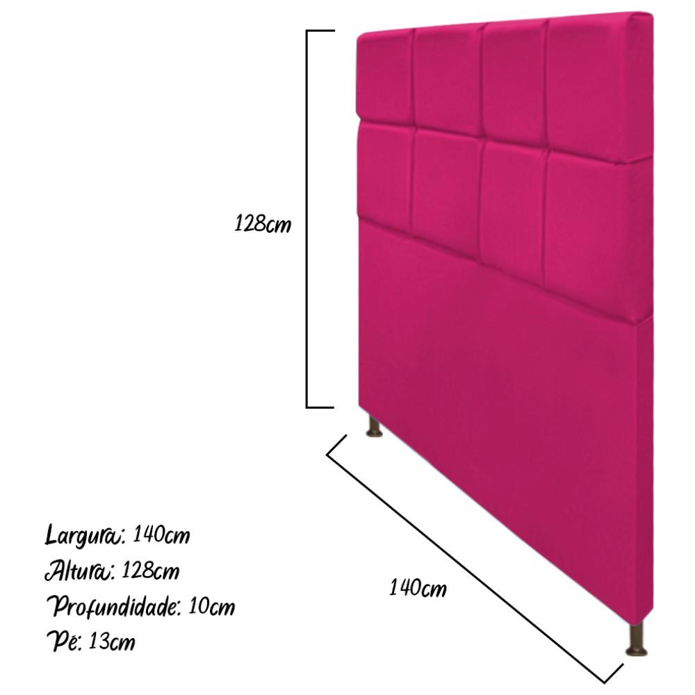 Cabeceira Estofada Damares 140 cm Casal Com Botonê  Suede Pink - ADJ Decor