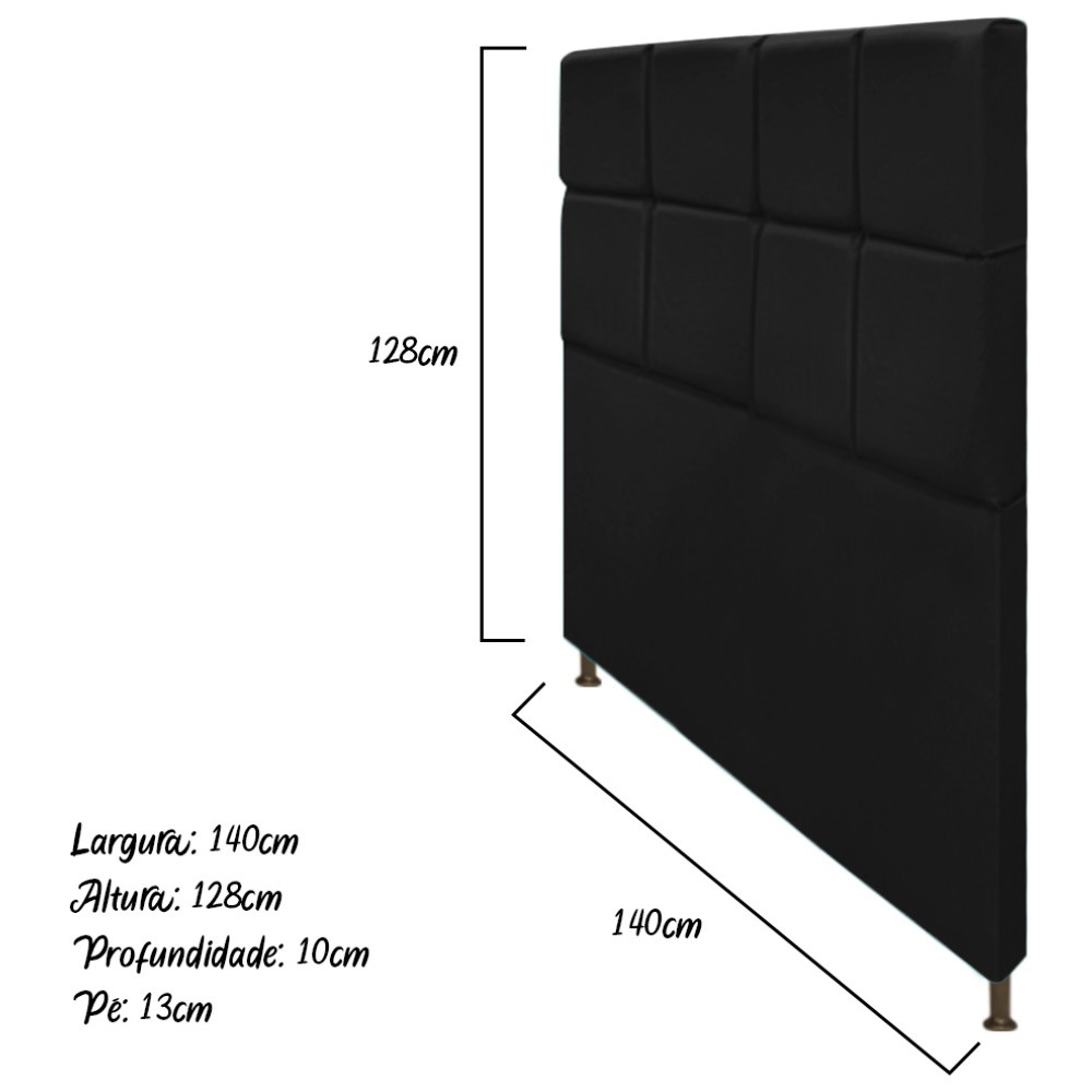 Cabeceira Estofada Damares 140 cm Casal Com Botonê  Suede Preto - ADJ Decor