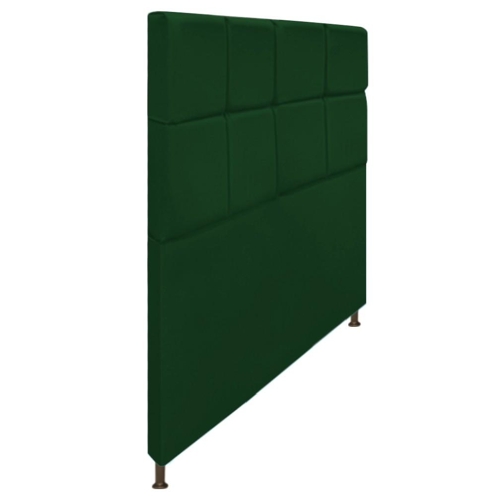 Cabeceira Estofada Damares 140 cm Casal Com Botonê  Suede Verde - ADJ Decor