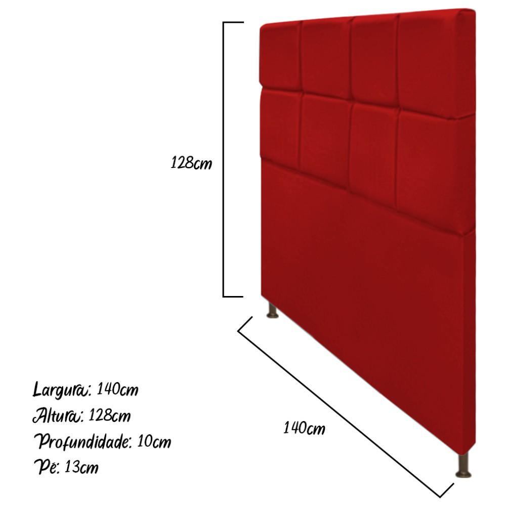 Cabeceira Estofada Damares 140 cm Casal Com Botonê  Suede Vermelho - ADJ Decor