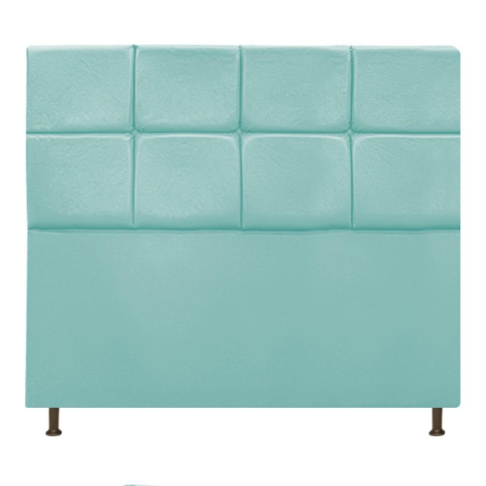 Cabeceira Estofada Damares 160 cm Queen Size Com Botonê Suede Azul Tiffany - ADJ Decor