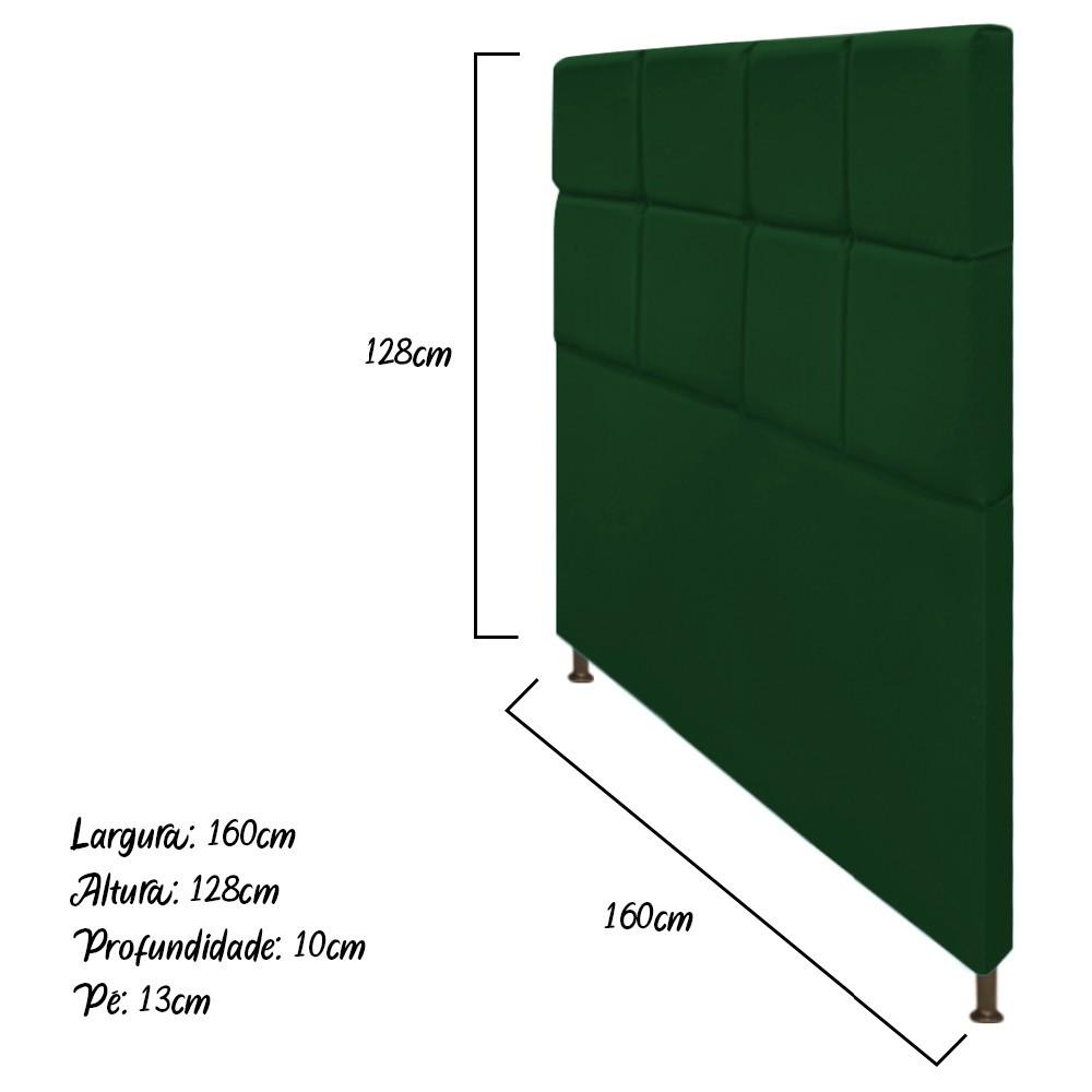 Cabeceira Estofada Damares 160 cm Queen Size Com Botonê Suede Verde - ADJ Decor