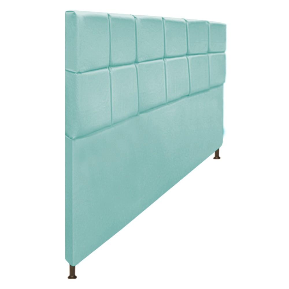 Cabeceira Estofada Damares 195 cm King Size Com Botonê Suede Azul Tiffany - ADJ Decor