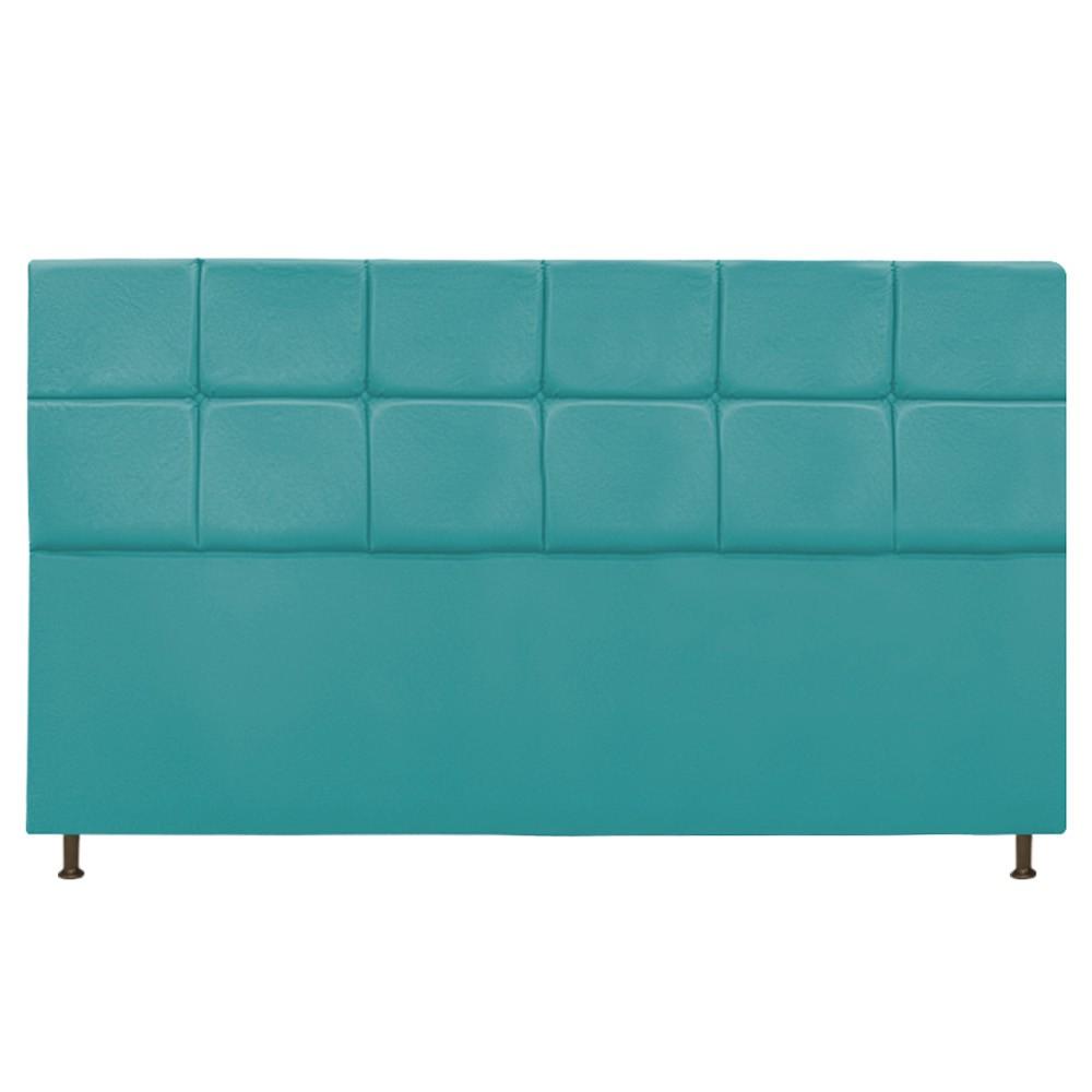 Cabeceira Estofada Damares 195 cm King Size Com Botonê Suede Azul Turquesa - ADJ Decor